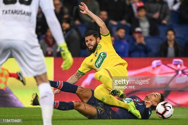 Nantes' Brazilian defender Lima vies with Paris SaintGermain's German defender Thilo Kehrer during the French Cup semifinal football match between...