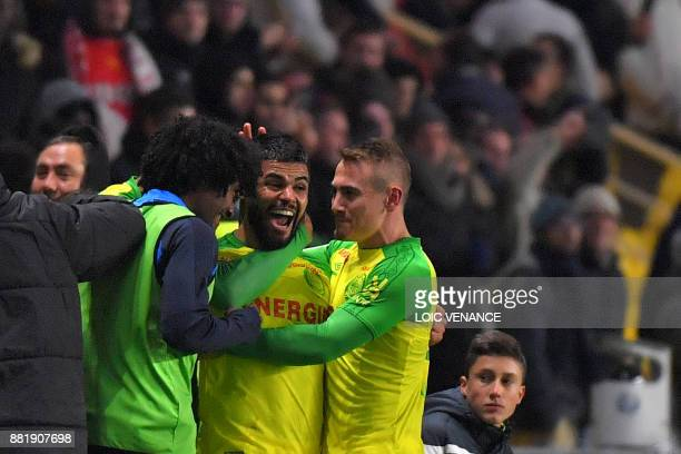 Nantes' Brazilian defender Lucas Lima celebrates after scoring during the French L1 football match Nantes vs Monaco at the La Beaujoire stadium in...