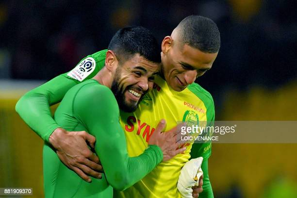 Nantes' Brazilian defender Lucas Lima celebrates with Nantes' French forward Yacine Bammou after the French L1 football match Nantes vs Monaco at the...