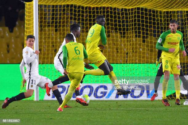 Nantes' Brazilian defender Lucas Lima shoots to score during the French L1 football match Nantes vs Monaco at the La Beaujoire stadium in Nantes...