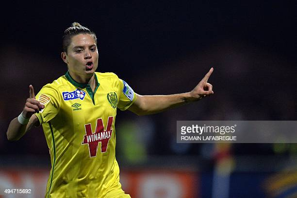 Nantes' Brazilian midfielder Adryan Oliveira Tavares celebrates after scoring a goal during the French Ligue Cup football match between FC...