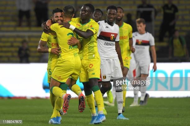 Nantes' Brazilian midfielder Lucas Lima celebrates after scoring following the international friendly football match between FC Nantes and Genoa CFC,...