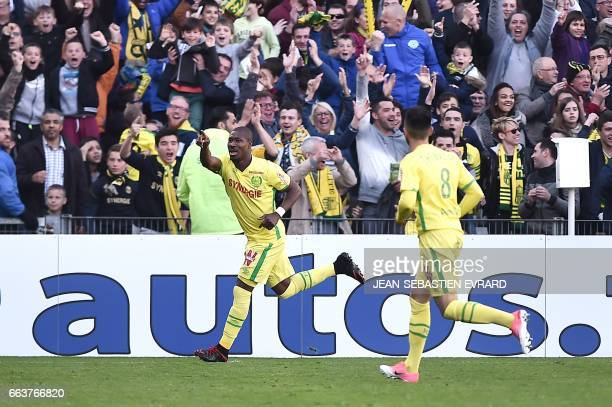 Nantes' Burkinabe forward Prejuce Nakoulma celebrates after scoring during the French L1 football match between Nantes and Angers on April 2 2017 at...