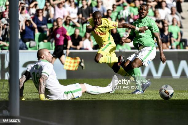 Nante's Burkinabese forward Prejuce Nakoulma scores a goal during the French L1 football match between AS SaintEtienne and FC Nantes on April 9 at...