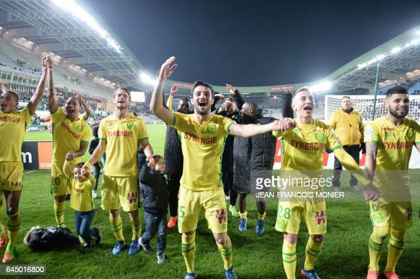 Nantes' Colombian forward Felipe Pardo Nantes' French defender Leo Dubois Nantes' French midfielder Valentin Rongier and Nantes' Brazilian defender...