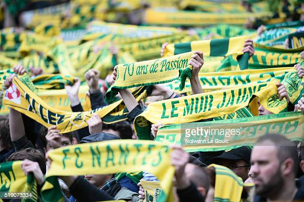 Nantes fans during the French League 1 match between Fc Nantes and Lille OSC at Stade de la Beaujoire on April 3 2016 in Nantes France