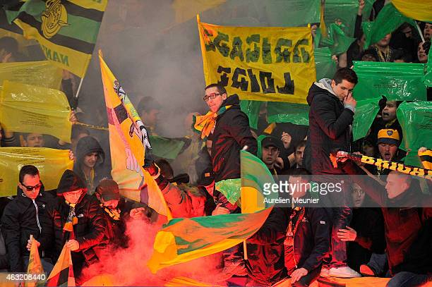Nantes fans reacts to the 1/8 Finals game of the French League Cup at Parc des Princes on February 11 2015 in Paris France