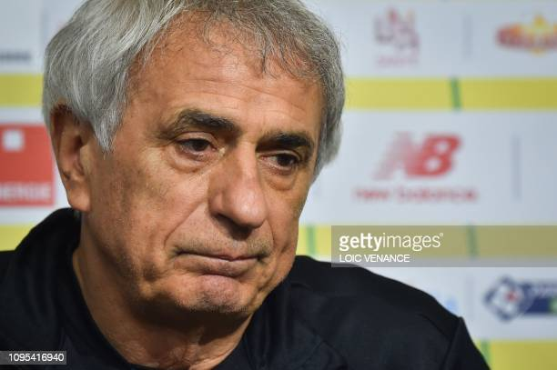 Nantes' football club Bosnian head coach Vahid Halilhodzic reacts as he gives a press conference at the training centre of La Joneliere in La...