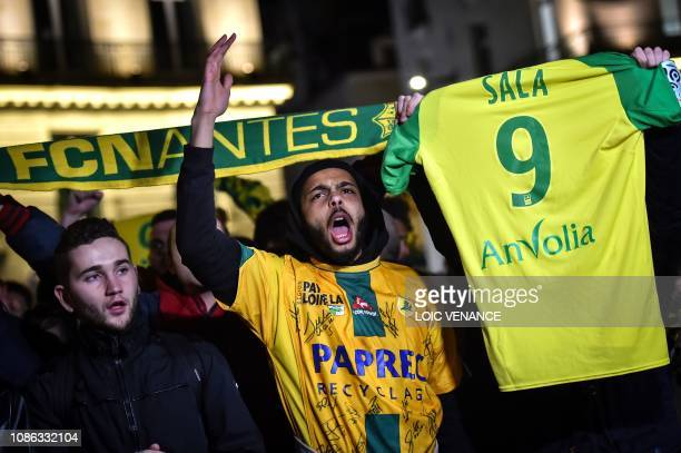 FC Nantes football club supporters gather in Nantes after it was announced that the plane Argentinian forward Emiliano Sala was flying in vanished...