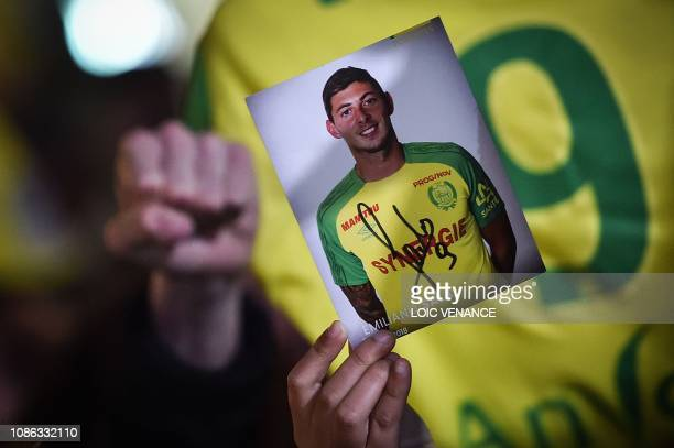 Nantes football club supporters gather in Nantes after it was announced that the plane Argentinian forward Emiliano Sala was flying in vanished...
