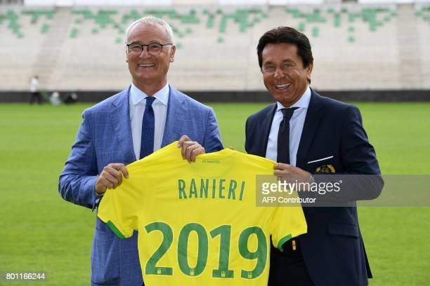 Nantes football club's newlyrecruited Italian coach Claudio anieri poses with the club's owner Waldemar Kita during his official presentation at the...