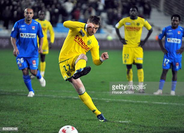 Nantes' forward Ivan Klasnic scored a penalty during the French League 1 Football match Nantes versus Lyon on December 6 at the stadium of La...