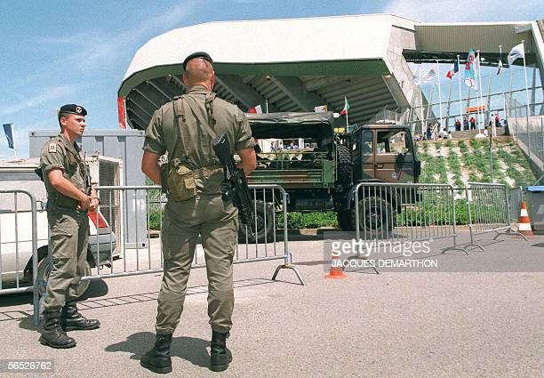 FILES A picture taken 20 June 1998 shows French marines guarding La Beaujoire Stadium in Nantes before the1998 Soccer World Cup group H match between...