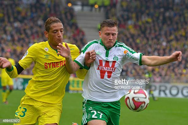 Nantes' French forward Yacine Bammou and St Etienne's French midfielder Franck Tabanou vie during the French L1 football match Nantes vs SaintEtienne...