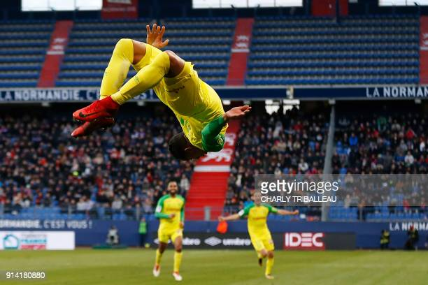 TOPSHOT Nantes' French forward Yacine Bammou celebrates after scoring a goal during the French L1 football match between Caen and Nantes on February...