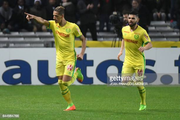Nantes' French forward Yacine Bammou celebrates after scoring during the French L1 football match between Nantes and Dijon on February 24 2017 at La...