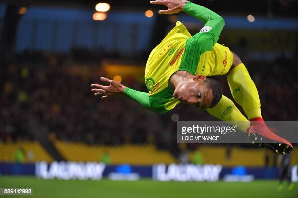Nantes' French forward Yacine Bammou celebrates after scoring during the French L1 football match Nantes vs Nice at the La Beaujoire stadium in...
