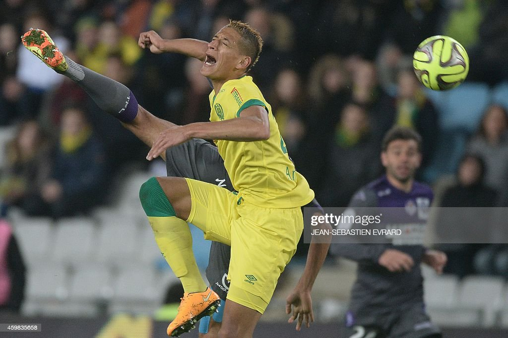 Nantes' French forward Yacine Bammou reacts during the French L1 football match between Nantes (FCN) and Toulouse (TFC) on December 2, 2014 at the Beaujoire stadium in Nantes, western France.