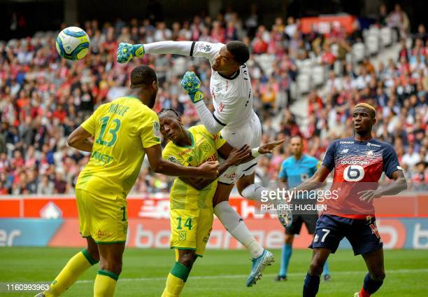 TOPSHOT Nantes' French goalkeeper Alban Lafont kicks the ball during the French L1 football match between Lille and FC Nantes at the Pierre Mauroy...