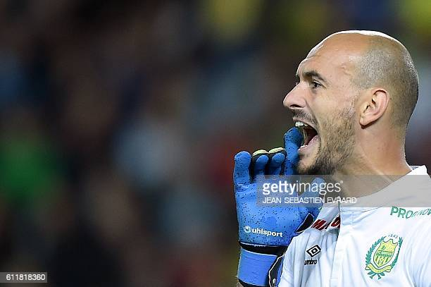 Nantes' French goalkeeper Remy Riou reacts during the French L1 football match between FC Nantes and SC Bastia at the Beaujoire Stadium in Nantes...