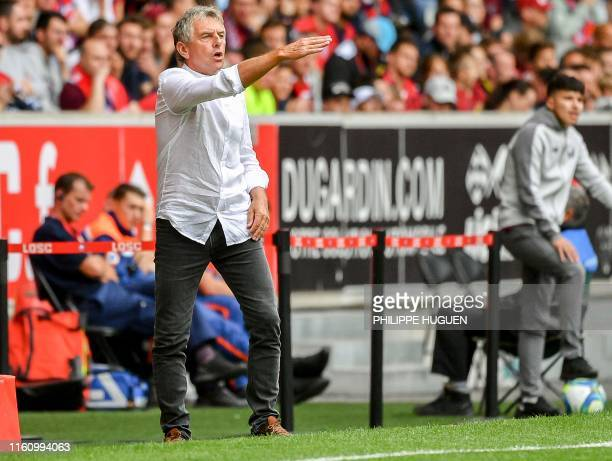 Nantes' French head coach Christian Gourcuff gestures during the French L1 football match between Lille and FC Nantes at the Pierre Mauroy Stadium in...