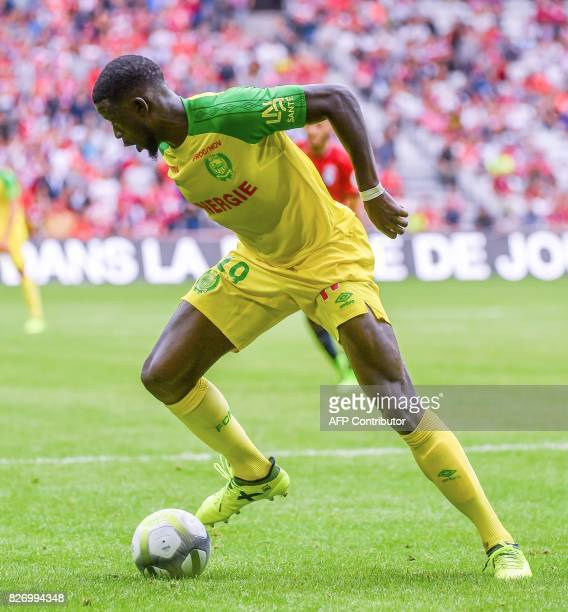 Nantes' French midfielder Abdoulaye Toure plays the ball during their French L1 football match Lille vs Nantes on August 6 2017 at the Pierre Mauroy...