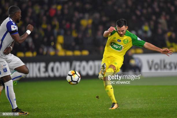 Nantes' French midfielder Adrien Thomasson scores a goal during the French Cup round of 32 football match FC Nantes vs AJ Auxerre at La Beaujoire...