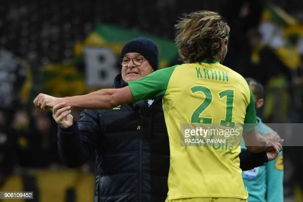 Nantes' French midfielder Rene Krhin and Nantes' Italian head coach Claudio Ranieri celebrate after scoring a goal during the French L1 football...