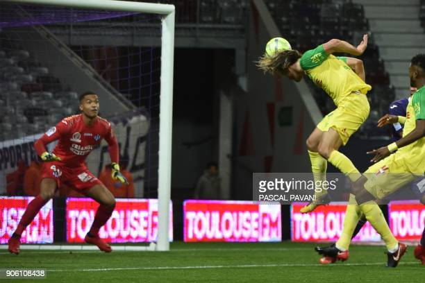 Nantes' French midfielder Rene Krhin scores during the French L1 football match Toulouse against Nantes January 17 2018 at the Municipal Stadium in...