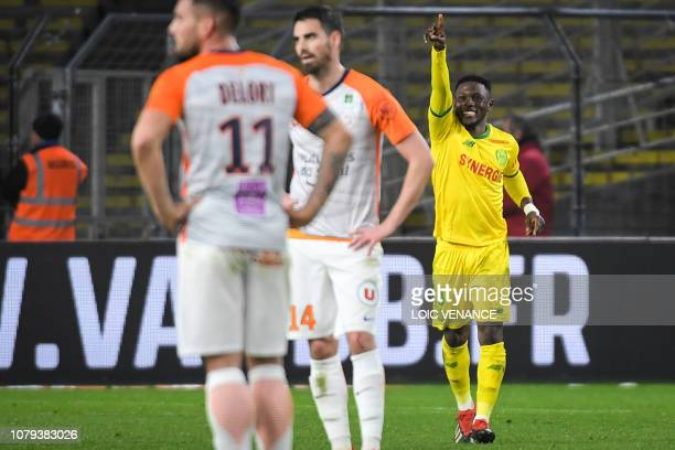 Nantes' Ghanaian forward Abdul Majeed Waris celebrates after scoring during the French L1 football match between FC Nantes and Montpellier Herault SC...
