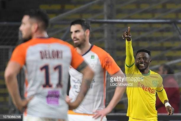 Nantes' Ghanaian forward Abdul Majeed Waris celebrates after scoring during the French L1 football match between Nantes and Montpellier at The La...