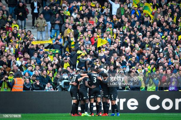 TOPSHOT Nantes' Ghanaian forward Abdul Majeed Waris celebrates with his teammates after scoring a penalty during the French L1 football match between...
