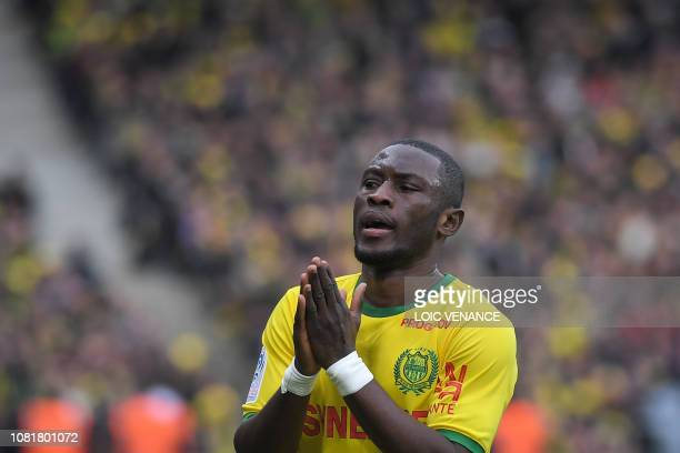 Nantes' Ghanean forward Majeed Waris gestures during the French L1 football match between Nantes and Rennes at La Beaujoire stadium in Nantes western...