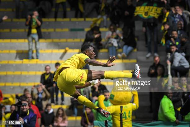 Nantes' Guinean defender Abdoulaye Toure celebrates after scoring a goal during the French L1 football match between Nantes and Dijon at the...