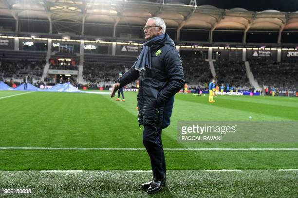 Nantes' Italian head coach Claudio Ranieri during the French L1 football match Toulouse against Nantes January 17 2018 at the Municipal Stadium in...
