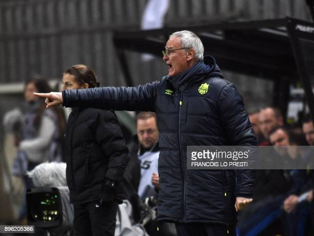 Nantes' Italian head coach Claudio Ranieri gestures during the French L1 football match between Amiens and Nantes on December 20 2017 at the Licorne...