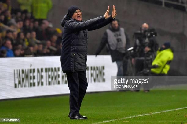 Nantes' Italian head coach Claudio Ranieri gestures during the French L1 football match between Nantes and Paris SaintGermain at the La Beaujoire...