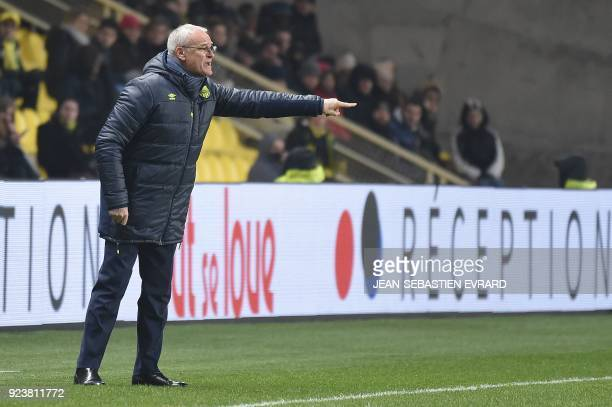 Nantes' Italian head coach Claudio Ranieri gestures during the French L1 football match between Nantes and Amiens on February 24 2018 at the...