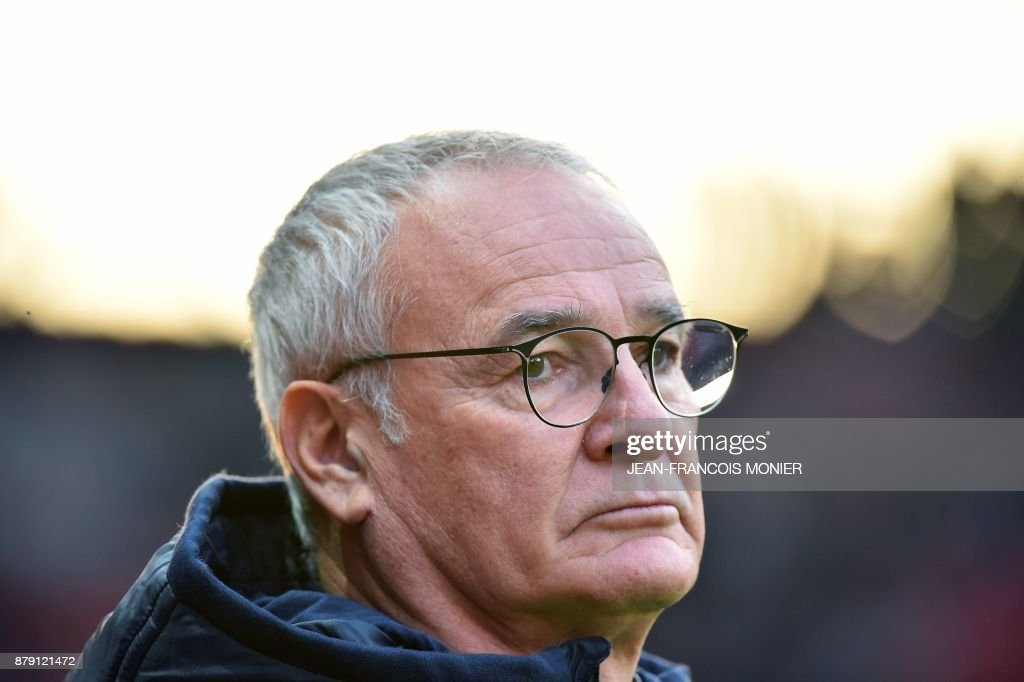 Nantes' Italian head coach Claudio Ranieri looks during the French L1 football match between Stade Rennais (SRFC) and Nantes (FCN) on November 25, 2017, at the Roazhon Park in Rennes, northwestern France. /