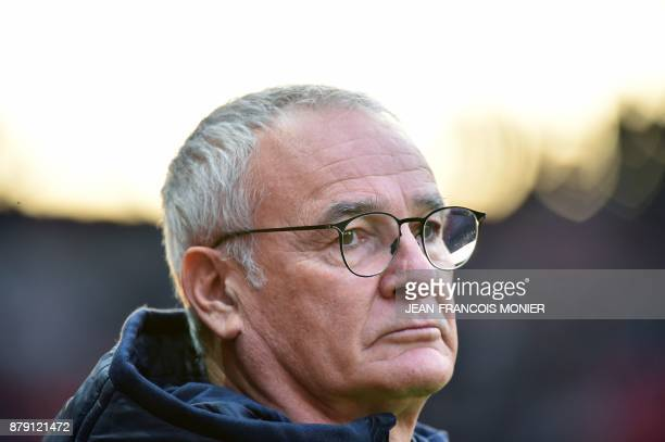 Nantes' Italian head coach Claudio Ranieri looks during the French L1 football match between Stade Rennais and Nantes on November 25 at the Roazhon...