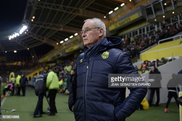 Nantes' Italian head coach Claudio Ranieri looks on during the French L1 football match between Nantes and Amiens on February 24 2018 at the...