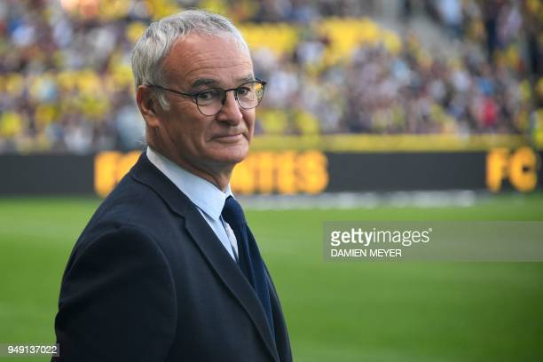 Nantes' Italian head coach Claudio Ranieri looks on during the French L1 football match Nantes versus Rennes on April 20 2018 at the La Beaujoire...