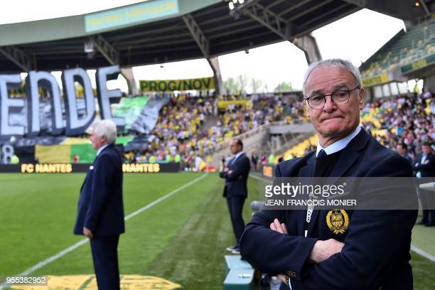 Nantes' Italian head coach Claudio Ranieri looks on prior to the French L1 football match between Nantes and Montpellier on May 6 at the La Beaujoire...
