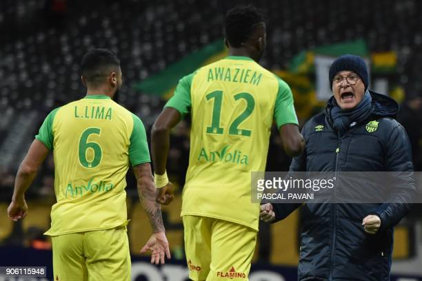 Nantes' Italian head coach Claudio Ranieri reacts after Nantes scored a goal during the French L1 football match Toulouse vs Nantes on January 17...