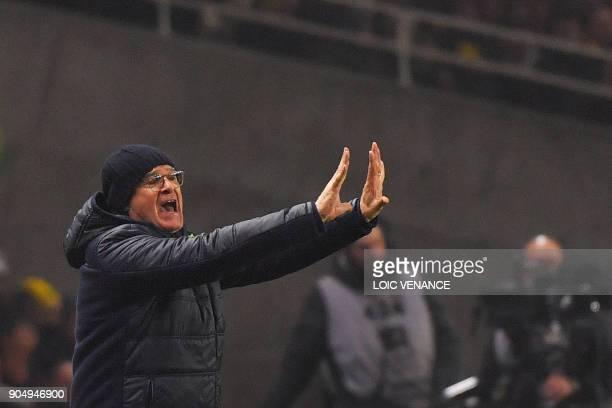 Nantes' Italian head coach Claudio Ranieri reacts during the French L1 football match between Nantes and Paris SaintGermain at the La Beaujoire...
