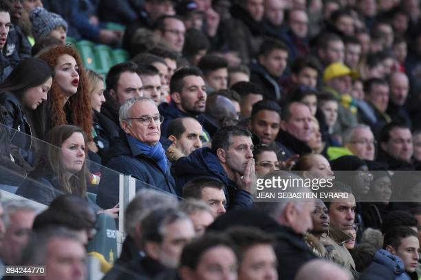 Nantes' Italian head coach Claudio Ranieri sits in the tribune after being asked by the referee to leave the field during the French L1 football...