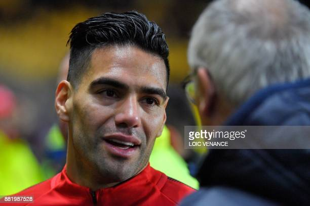 Nantes' Italian head coach Claudio Ranieri speaks with Monaco's Colombian forward Radamel Falcao before the French L1 football match Nantes vs Monaco...