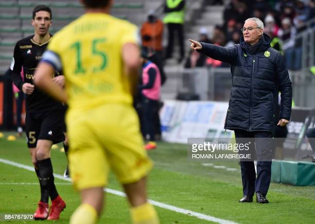 Nantes' Italian headcoach Claudio Ranieri gestures during the French L1 football match between SaintEtienne and Nantes on December 3 at the Geoffroy...