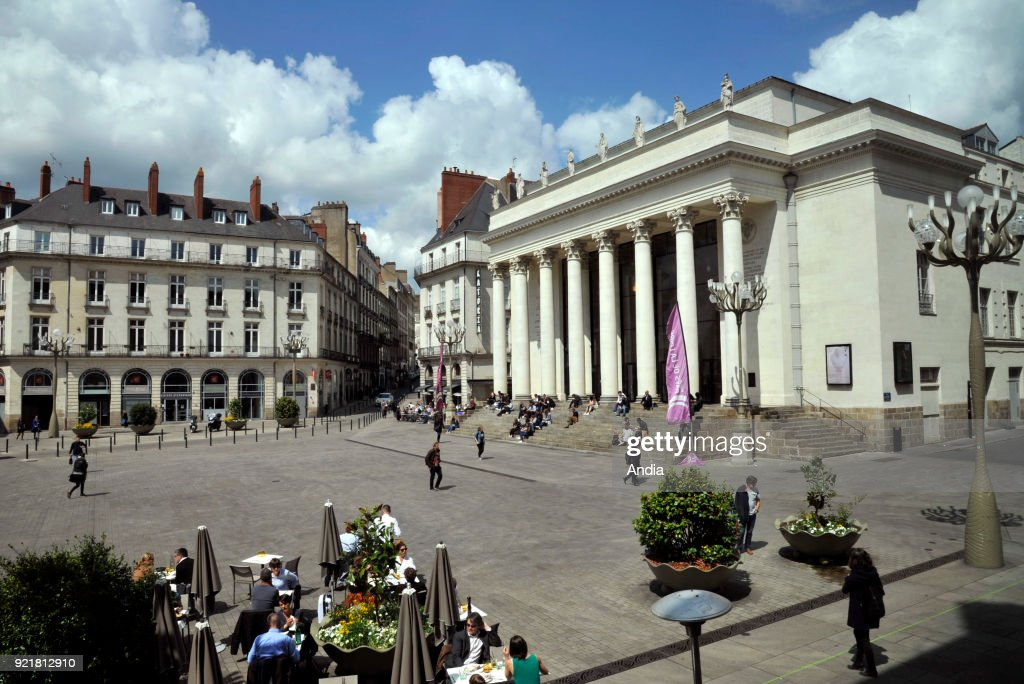 Nantes, 'place Graslin' square with the theatre and opera house Theatre Graslin. : News Photo