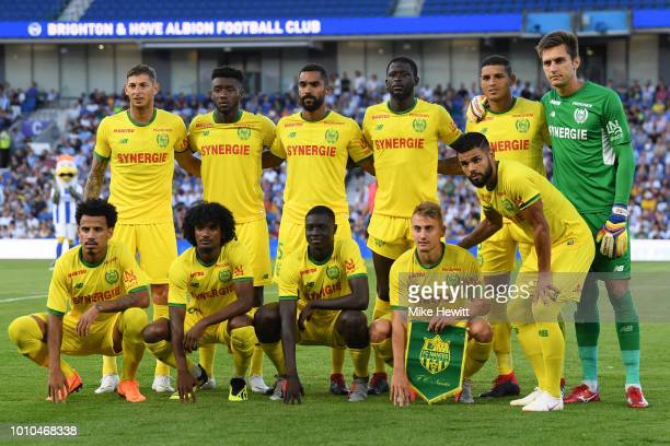 Nantes players pose for a team photo ahead of a PreSeason Friendly between Brighton and Hove Albion and FC Nantes at Amex Stadium on August 3 2018 in...